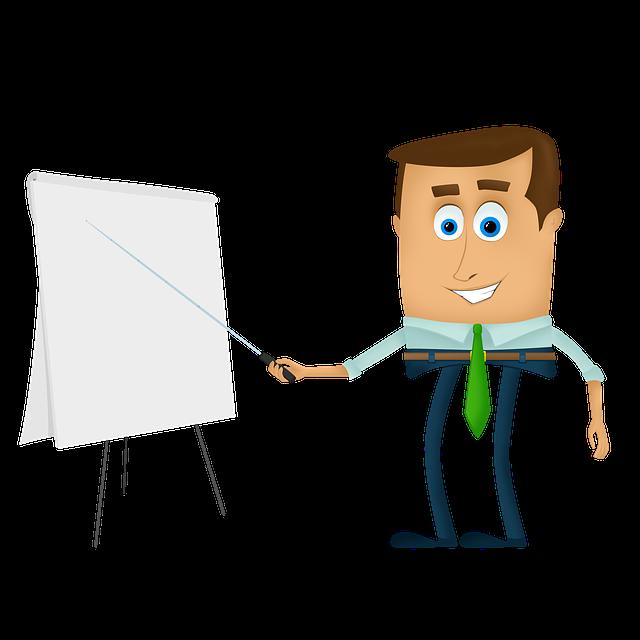 Unser Körper als Lehrer.  Ein Mann in Zeichentrickoptik zeigt auf eine Tafel, ein Whiteboard.  Quelle: PanJoyCZ auf Pixabay