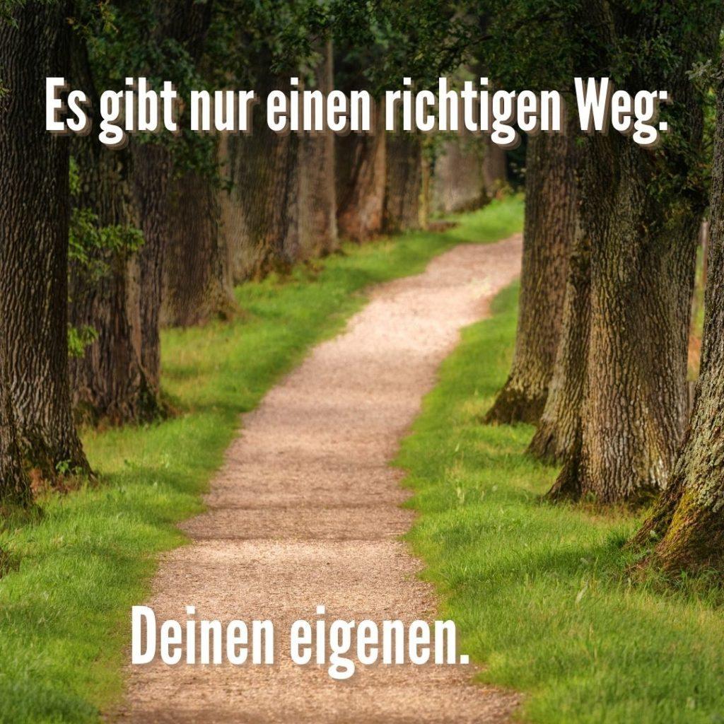 Es gibt nur einen richtigen Weg. Deinen eigenen.  Quelle: healthyfeelings.de, erstellt mit canva.com