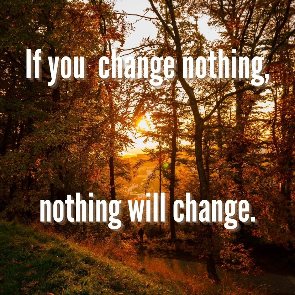 If you change nothing, nothing will change. Quelle: healthyfeelings.de - erstellt mit canva.com