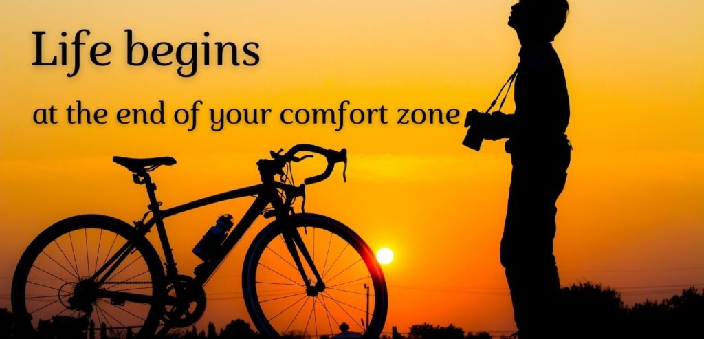 Life begins at the end of your comfort zone. Bildquelle: healthyfeelings.de, erstellt mit canva.com